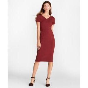 Brooks Brothers Ponte-Knit V-Neck Sheath Dress